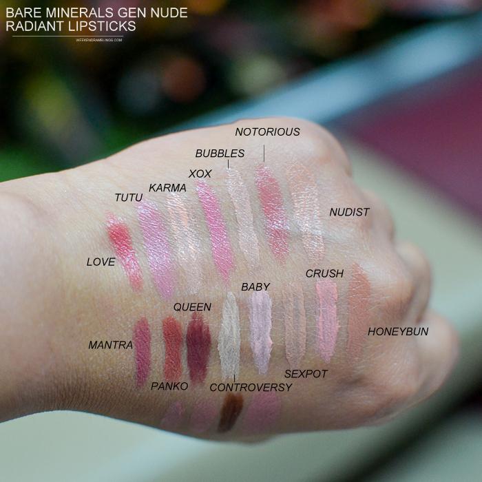 Bare Minerals Gen Nude Radiant Lipsticks - Swatches - Love Tutu Karma XOX Bubbles Notorious Nudist Mantra Panko Queen Controversy Baby Sexpot Crush Honeybun Kitty Strip Posh Heaven