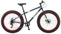 """Mongoose Dolomite 26"""" Men's Fat Tire Bike, with 26""""x4"""" wide knobby fat tires, 18"""" frame, 7 speeds, Shimano rear derailleur, twist grip shifter, disc brakes"""