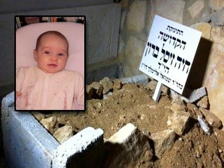 Aquí reposa la niña asesinada por los terroristas árabes (foto proporcionada por su familia)