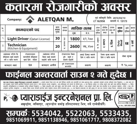 Free Visa Free Ticket, Jobs For Nepali In Qatar, Salary -Rs.75,000/