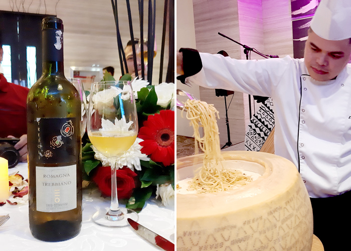 White wine and Pasta on Parmesan wheel