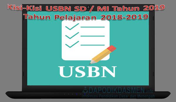 Kisi-Kisi USBN SD / MI Tahun 2019 Tahun Pelajaran 2018-2019