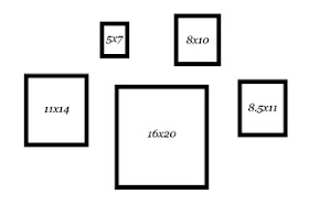 graphic image depicting the standard or common picture frame sizes for photography and fine art by