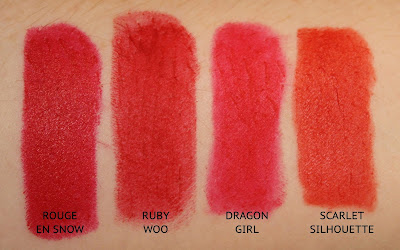 MAC SnowBall Collection Lipstick in Rouge en Snow review swatch swatches comparison dupe