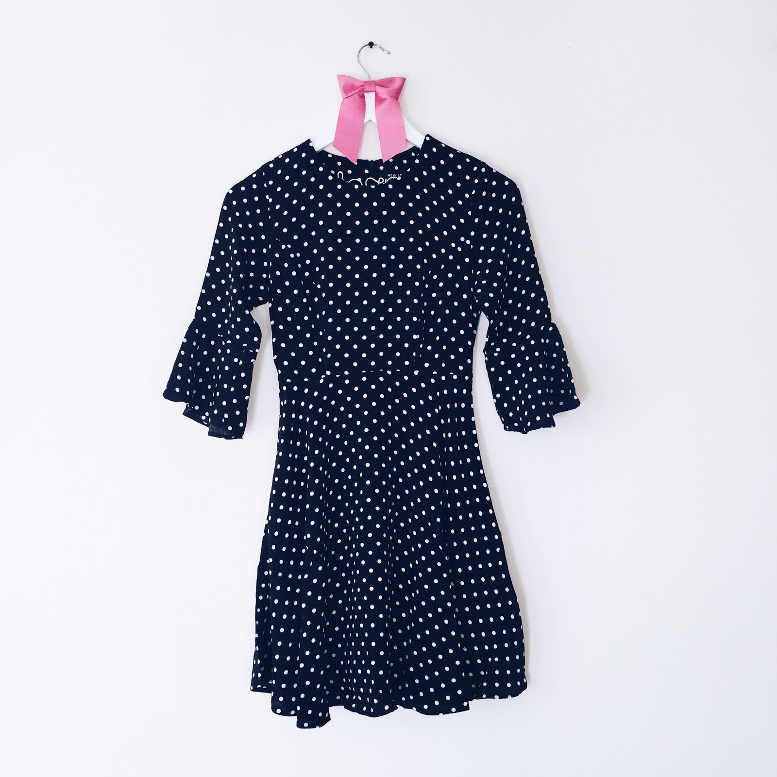Polkadot Fluted Sleeves Skater Dress