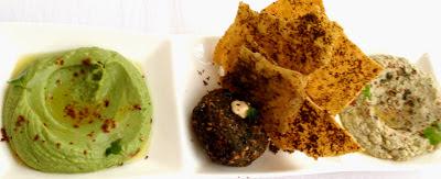 Boulud Sud hummus, falafel, and baba ghanoush