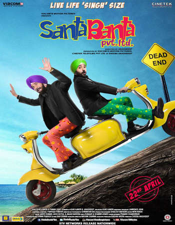 Poster Of Santa Banta Pvt Ltd 2016 Hindi 300MB DVDRip 480p ESubs Watch Online Free Download Worldfree4u