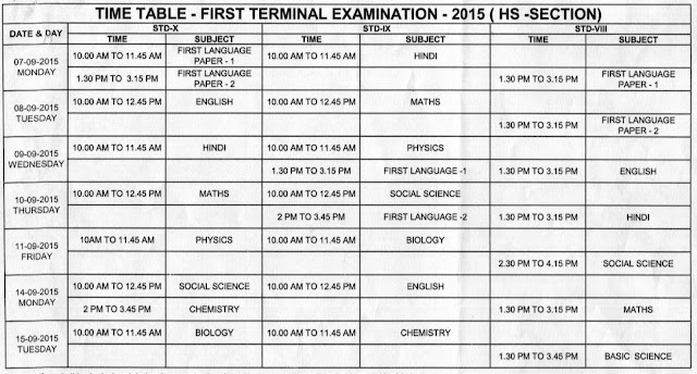 Std 8,9,10 Kerala HS First Term Exam Time Table