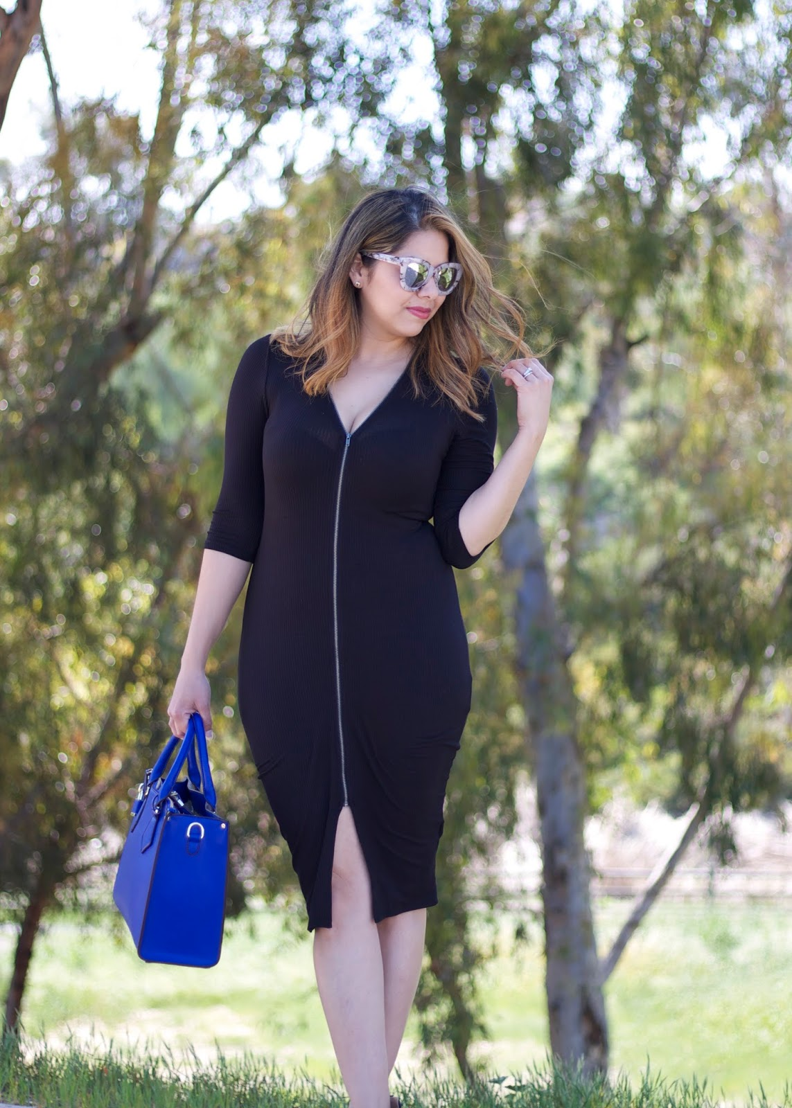 Black Midi Dress with blue, bold blue handbag, galian handbag, quay sunglasses