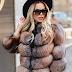Haina femei eleganta scurta din blana naturala vulpe de iarna la reducere