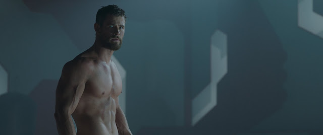 A shirtless Thor