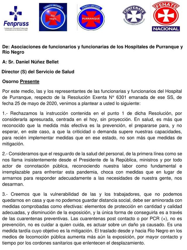 😷🇨🇱 Funcionarios rechazan resolución del Servicio de Salud de Osorno