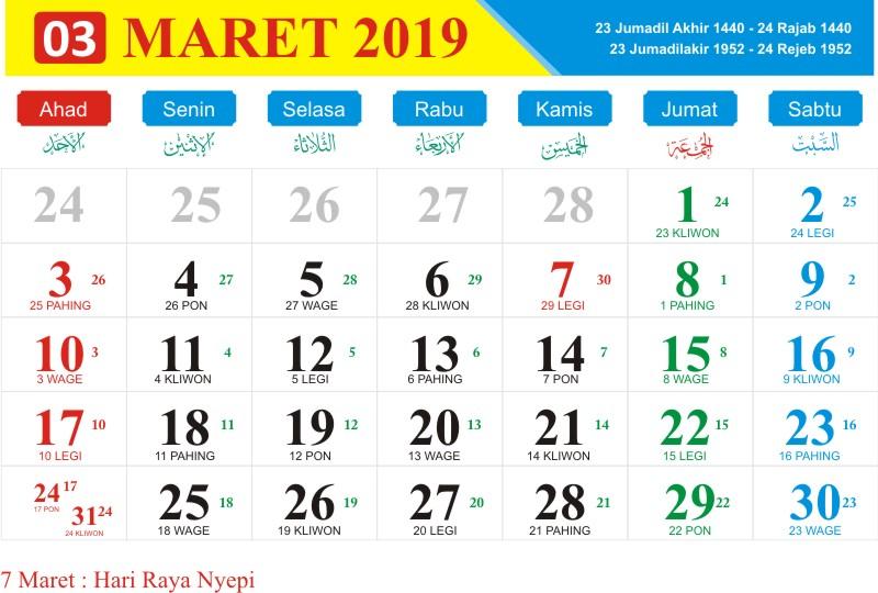 Kalender jawa maret 2019