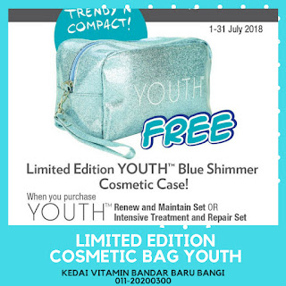 YOUTH Blue Shimmer Cosmetic Case.