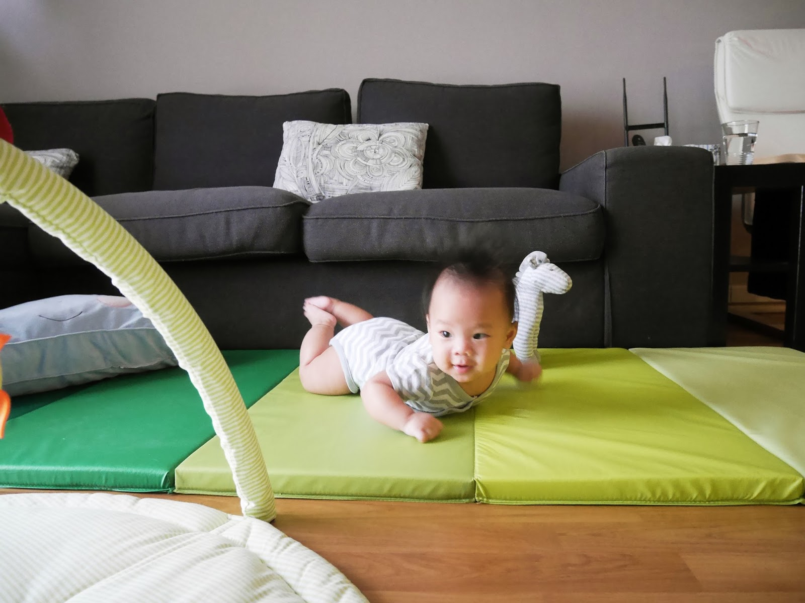 Being A Lover Of Tummy Time We Thought It D Be Great If Got Him Foam Mat To Practice Crawling In The Living Room