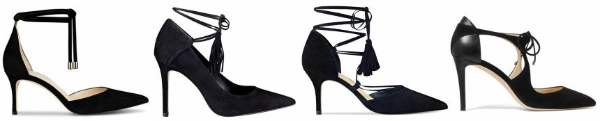 One of these pairs of tie pumps is from Jimmy Choo for $750 and the other three are under $100. Can you guess which one is the designer pair?