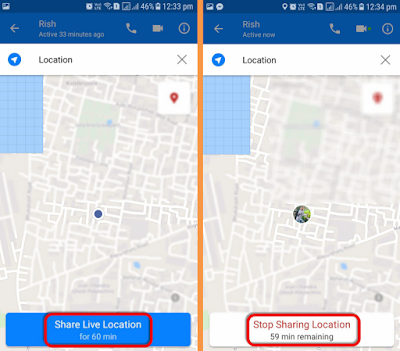 Share Live Location on Messenger