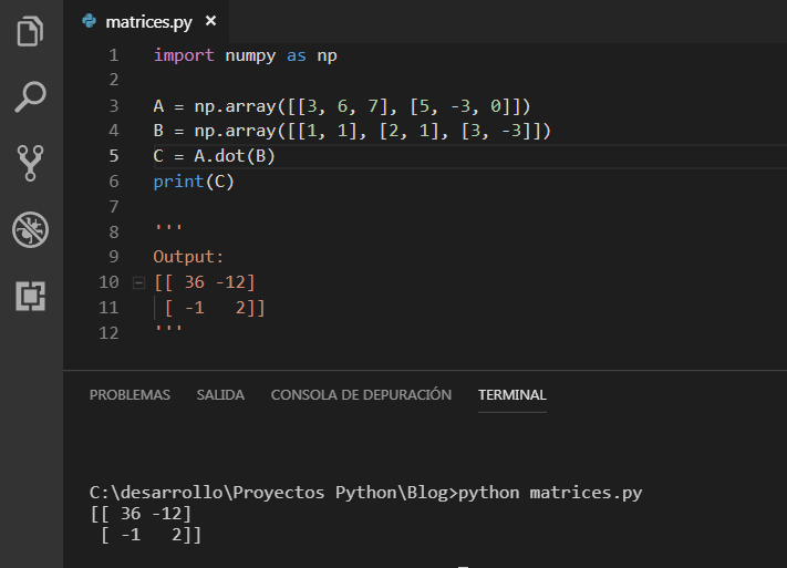 Multiplicar matrices en NuMpy