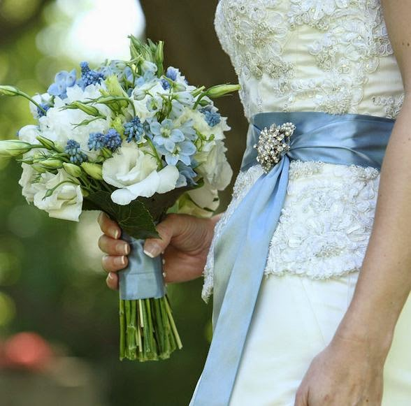 Baby Blue And White Wedding Bouquets