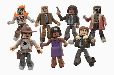 The Walking Dead Minimates Series 6 Action Figures - Carl Grimes, Burning Zombie, Douglas, Party Dress Michonne, Constable Michonne, Constable Rick Grimes & Winter Zombie