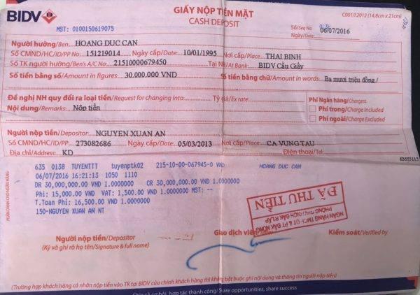 Một trong nhiều giấy chuyển tiền cho một cán bộ Thanh tra Chính phủ