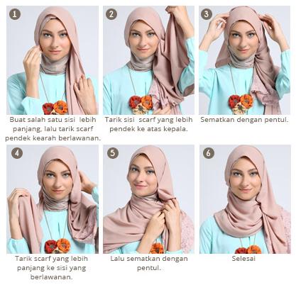 Cara Memakai Hijab Segi Empat Modern ala Dewi Sandra Kreasi Terbaru