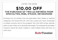 Print out coupons for Ruby Tuesday. BeFrugal updates printable coupons for Ruby Tuesday every day. Print the coupons below and take to a participating Ruby Tuesday to save.