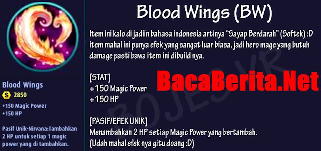 Fungsi item mage Blood Wings mobile legend