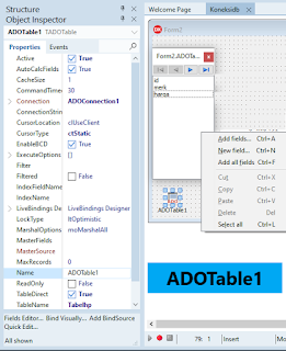 Cara Setting ADOTable1 Delphi