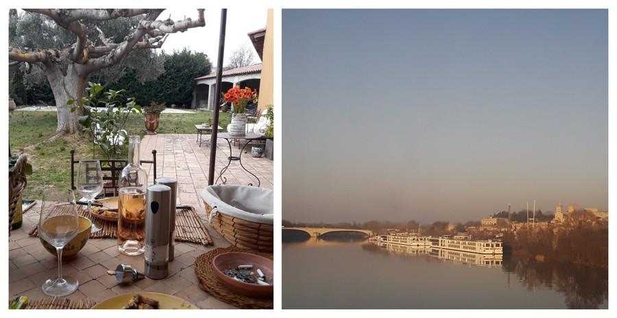 déjeuner dehors et pont d'Avignon