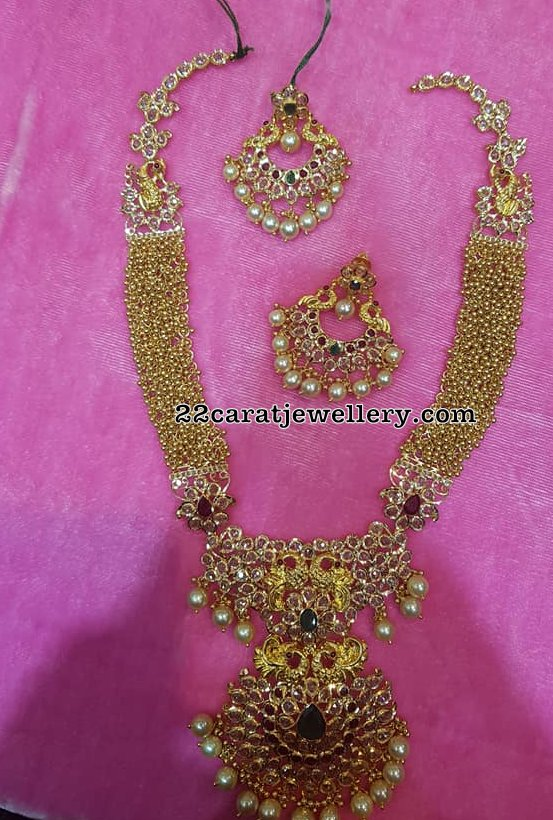 Gold Muvvalu Necklace with Chandbalis