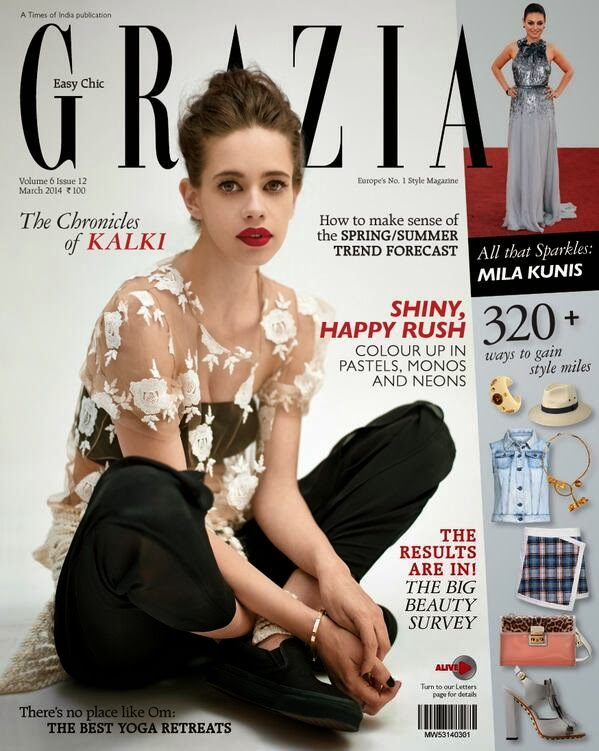 Kalki Koechlin is cover girl for Grazia India March 2014 issue