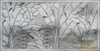sketsa gambar relief batu paras motif Pohon pisang
