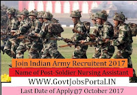 Indian Army Recruitment 2017– Soldier Nursing Assistant
