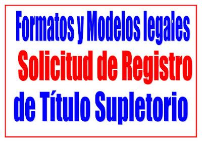 Solicitud de Registro de título de título supletorio de Propiedad