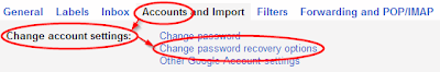 Settings->Accounts->Change password recovery options