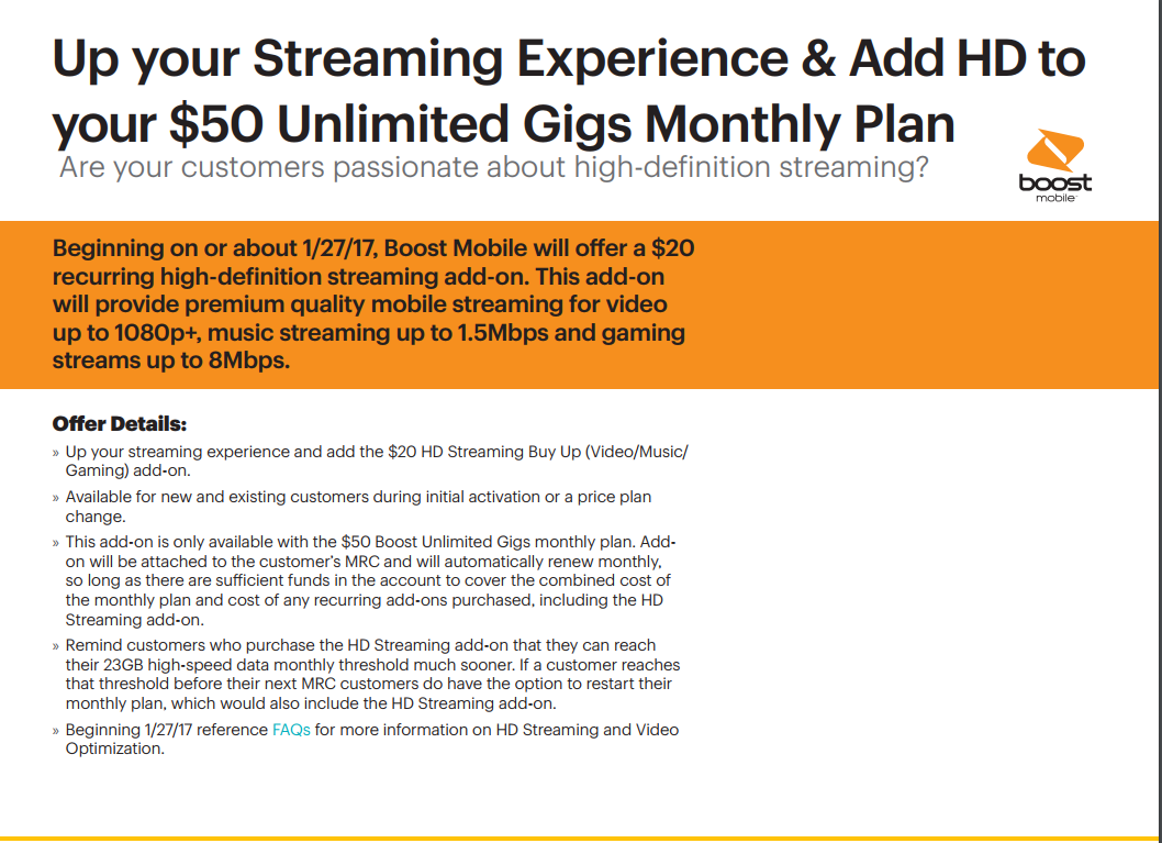 Boost Mobile To Offer $20/Month High Speed Video, Music and