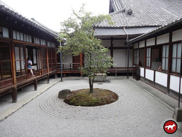 Jardin rond triangle carré de Kennin-Ji à Kyoto