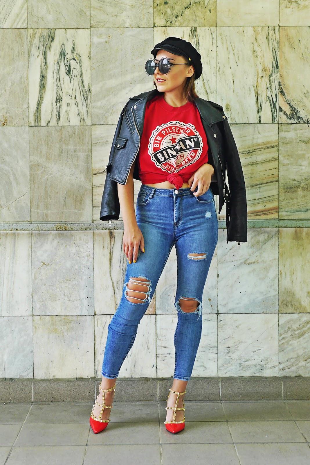 red heels christain lauboutin black biker jacket denim pants karyn blog modowy