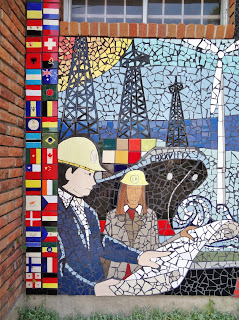 "Detail of ""This is Houston"" mosaic in Montrose with international theme flag tiles"