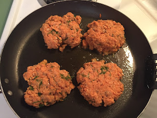 Frying Salmon patties for dinner