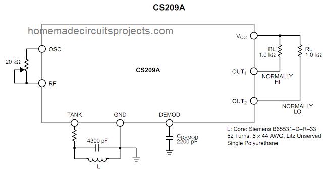 Simple Metal Detector Circuit Using IC CS209A