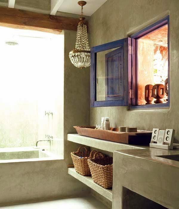 Amores bohemios...: baños de obra y microcemento
