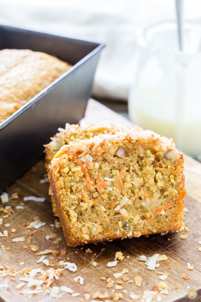 Easy Carrot, Coconut and Walnut quick bread