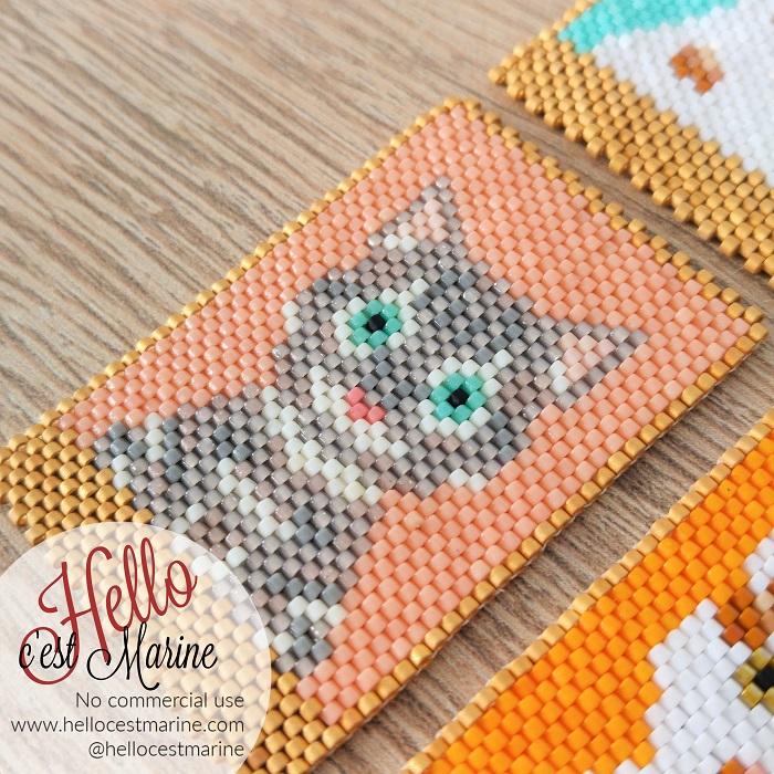 Chat tigré, fond rose, diagramme pour tissage en perles Miyuki delicas 11/0, par Hello c'est Marine