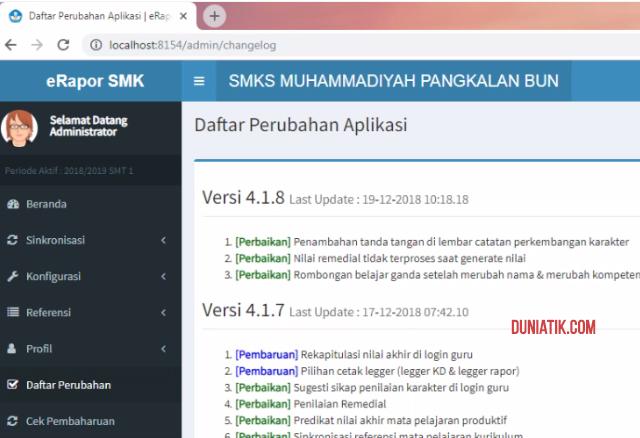 daftar perubahan update aplikasi e-rapor smk 2018 terbaru