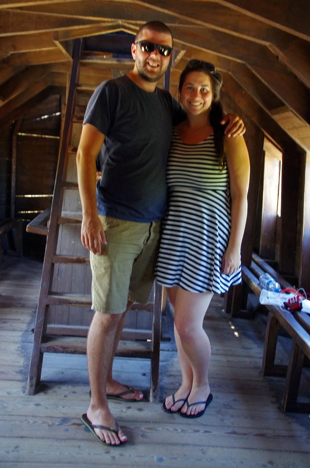 Couple inside Trojan Horse in Troy