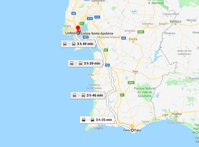 Mapa do trajeto de Faro a Lisboa em trem