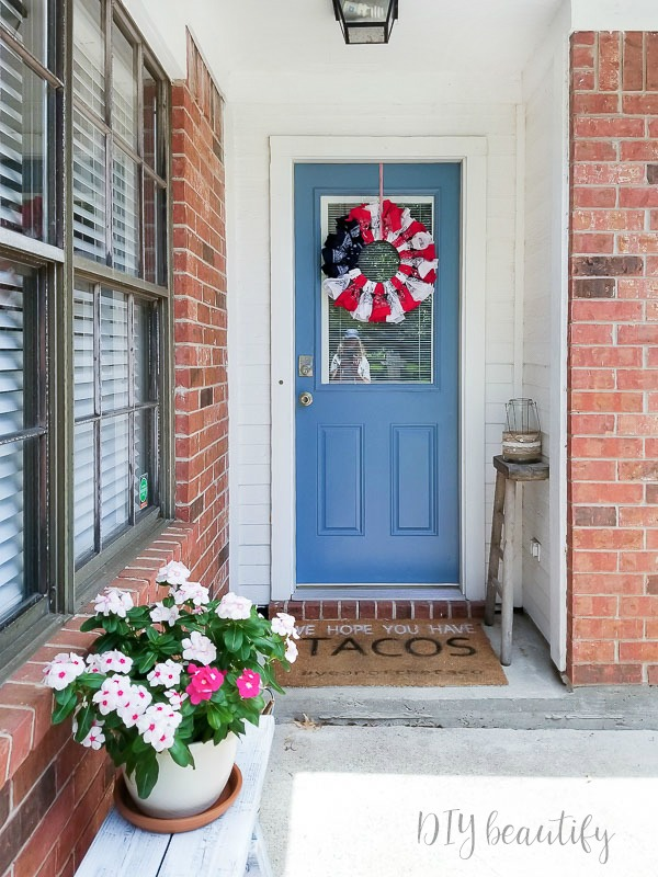 bandana wreath on painted door