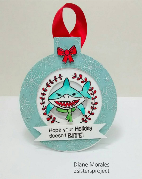 IPC 38 Favorite | Shark Christmas Card by Diane Morales | Shark Bites stamp set by Newton's Nook Designs #newtonsnook